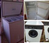 Freezer, Fridge, Washing machine.