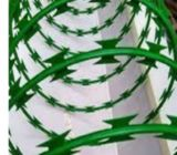 Galvanised green razor wire