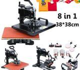 Multipurpose swing-away heat press for T-shirts, Mugs, Plates, Caps, which utilizes quick-change att