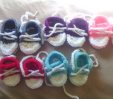Crotchet booties, hats, adult slippers